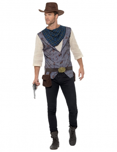 Cowboy-Herrenkostüm Western-Verkleidung blau-grau-weiss
