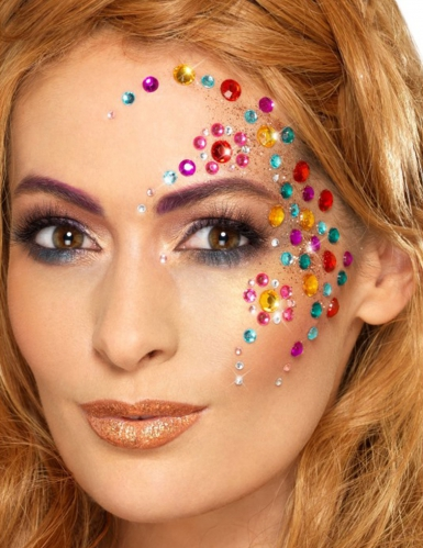 Glitzernde Steine Make-Up selbstklebend bunt 100 Stück