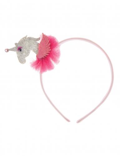 Einhorn Haarreif 3D für Mädchen pink-silber