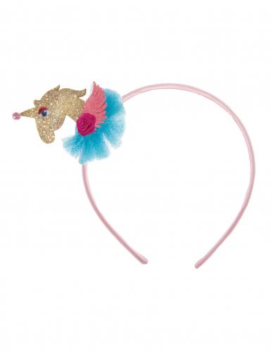 Einhorn Haarreif 3D für Mädchen pink-silber-1