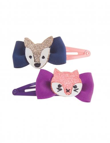 Fuchs und Wolf-Haarspangen für Mädchen 2 Stück bunt