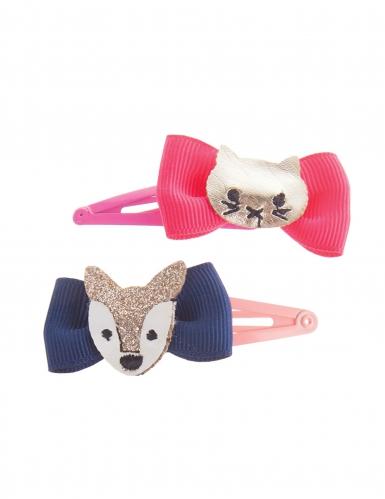 Fuchs und Wolf-Haarspangen für Mädchen 2 Stück bunt-1
