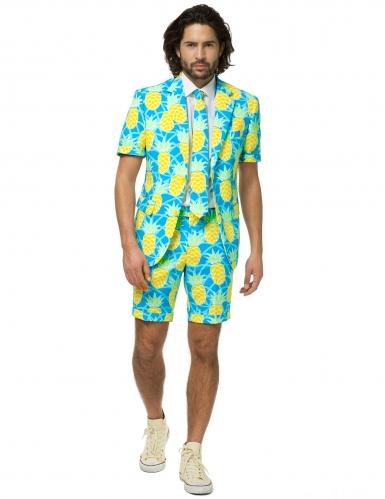 Ananas-Opposuits™-Sommeranzug für Herren blau-weiss-gelb