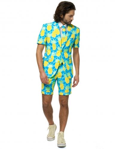 Ananas-Opposuits™-Sommeranzug für Herren blau-weiss-gelb-3