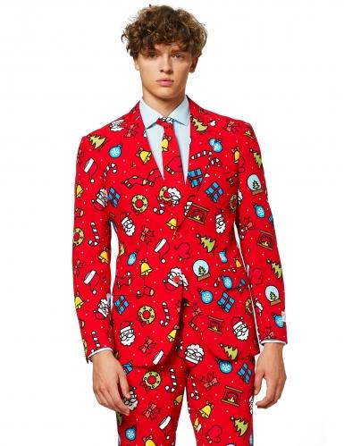 Mr. Adrett weihnachtlicher-Herrenanzug mit Motiv rot-bunt