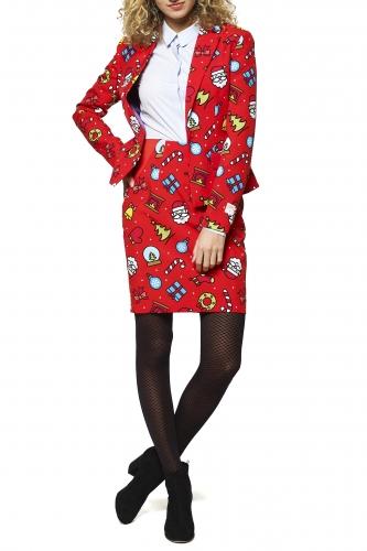 Weihnachtsfrau-Opposuits™-Kostüm für Weihnachten rot-bunt