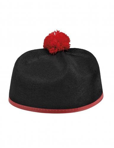 Kardinals-Mütze für Erwachsene Faschingshut Accessoire Schwarz-rot-1