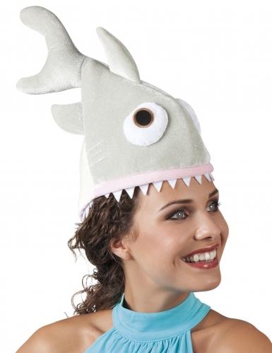 Humorvolle Hai-Mütze für Erwachsene Zubehör grau-weiss