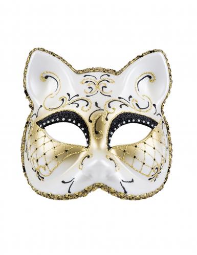 Elegante Katzen-Augenmaske weiss-schwarz-gold-1