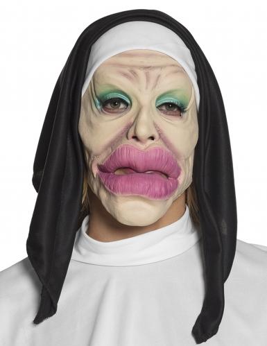 Verrückte Nonnen-Maske Kostümzubehör schwarz-weiss