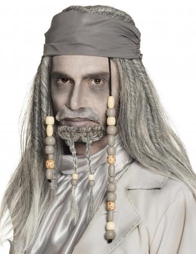 Gespenstische Piraten-Perücke mit Bandana 2-teilig grau