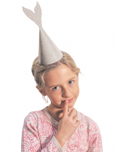 6 Meerjungfrauen Partyhüte silber 21 cm