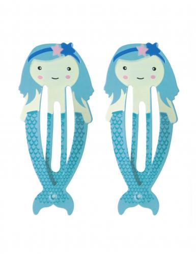 Meerjungfrauen Haarklammern blau 5,5 cm