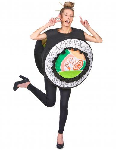 Lustiges Sushi-Kostüm humorvolle Verkleidung Karneval schwarz-bunt
