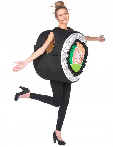 Lustiges Sushi-Kostüm humorvolle Verkleidung Karneval schwarz-bunt-1