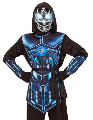 Kämpferisches Ninja-Kinderkostüm mit leuchtenden Augen und Melodie schwarz-blau-1