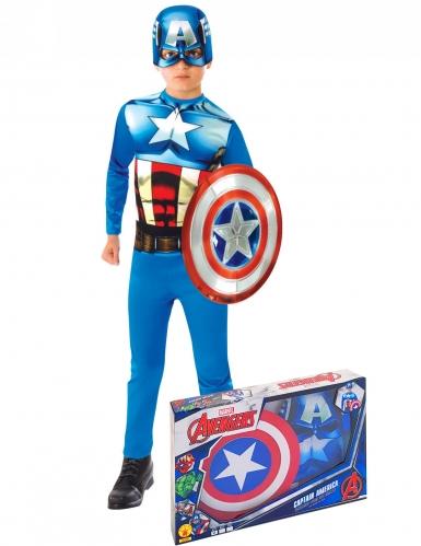 Captain America™ Lizenz Marvel-Kostüm für Kinder blau-rot-weiss