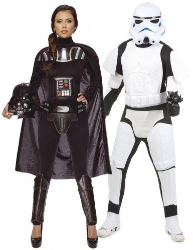 Star Wars™-Paarkostüm für Erwachsene Stormtrooper und Darth Vader™ schwarz-weiss
