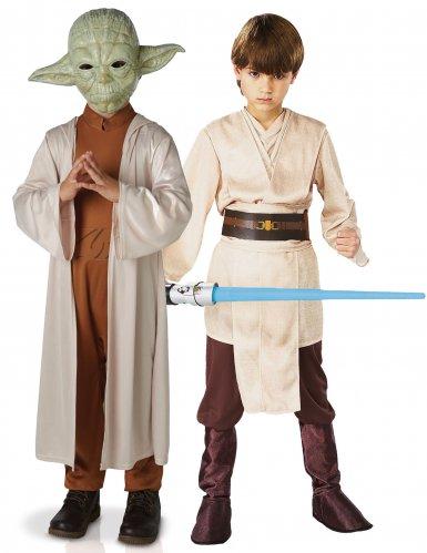 Star Wars™-Paarkostüm für Kinder yoda und Jedi Lizenzartikel bunt