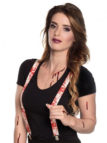 Hosenträger mit Blutflecken Kostüm-Accessoire weiss-rot