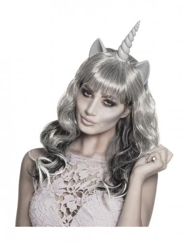 Gespenstische Einhorn-Perücke Kostüm-Accessoire für Halloween grau