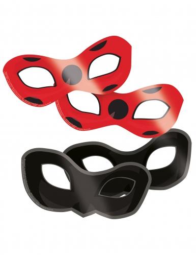 8 Pappmasken Ladybug™ rot schwarz