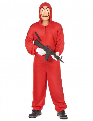 Bankräuber-Kostüm mit Maske für Erwachsene rot-1