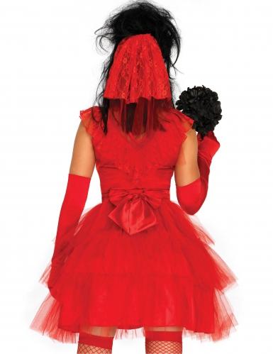 Verführerische Gothic-Braut Halloween-Damenkostüm rot-1
