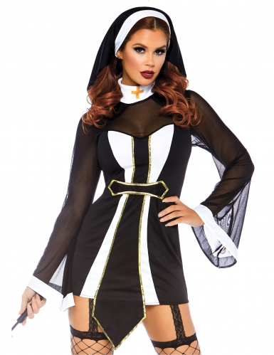 Verführerische Nonne Halloween-Damenkostüm schwarz-weiss