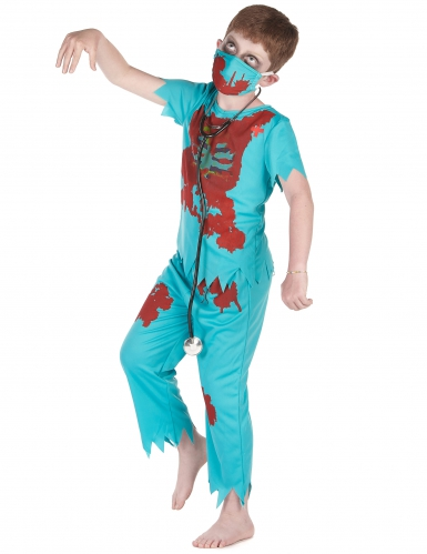 Zombie-Arzt Kinderkostüm Chirurg Halloween blau-rot-1