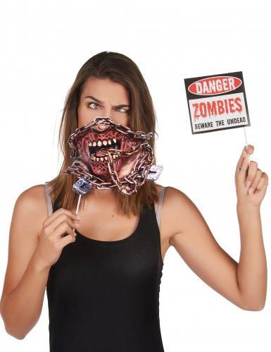 Zombie-Photobooth 10-teilig Halloween-Zubehör bunt-1