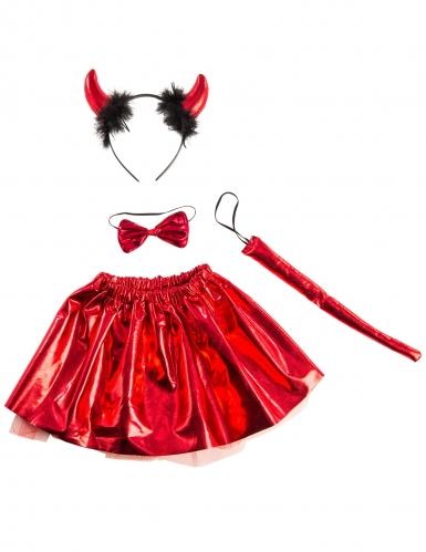 Teuflisches Kostüm-Set für Mädchen schwarz-rot-2