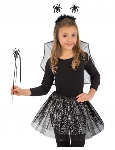 Spinnen-Fee Kostüm-Set 4-teilig für Kinder Halloween-Accessoires schwarz