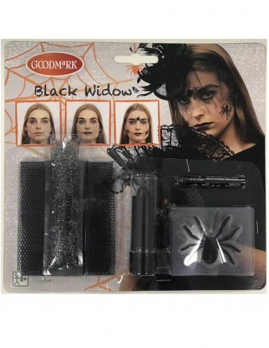 Gruseliges Spinnen-Make-up Set Halloween 7-teilig schwarz