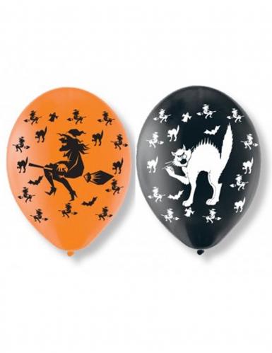 6 Halloween Luftballons orange-schwarz
