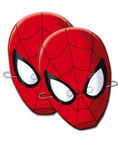Spiderman™-Papiermasken Marvel-Lizenz rot-schwarz 6 Stück