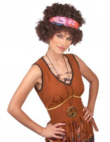 Hippie Afro Perücke für Erwachsene braunhaarig-1