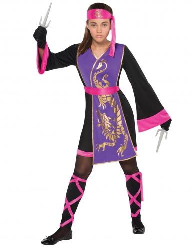 Hübsche Ninja-Kämpferin Kostüm für Mädchen schwarz-lila