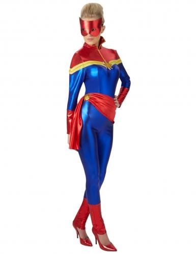 Captain Marvel-Comichelden Damenkostüm Lizenz rot-gelb-blau