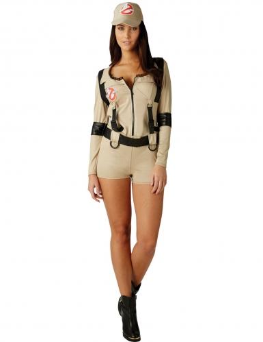 Ghostbusters™-Damenkostüm sexy Lizenz beige-schwarz