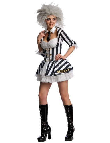 Beetlejuice™-Damenkostüm Halloween Lizenz schwarz-weiss
