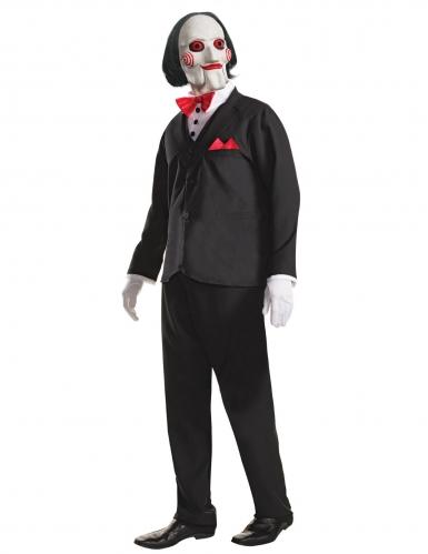 Billy Saw™-Lizenzkostüm Killer Halloween für Erwachsene schwarz-weiss