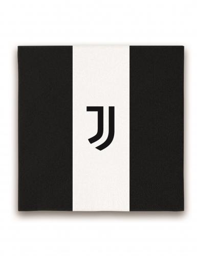 Juventus™-Servietten 20 Stück schwarz-weiss 33x33cm