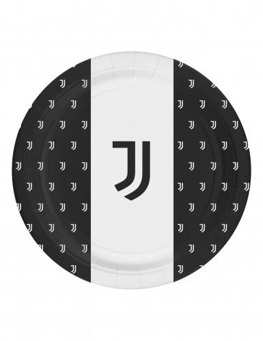 Juventus™-Pappteller 8 Stück schwarz-weiss 23cm