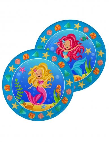 Meerjungfrauen Pappteller Kindergeburtstag 8 Stück bunt 23cm