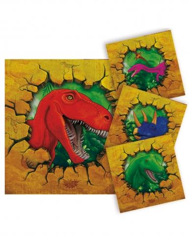 Wilde Dinosaurier-Servietten Tischzubehör 16 Stück bunt 25x25cm