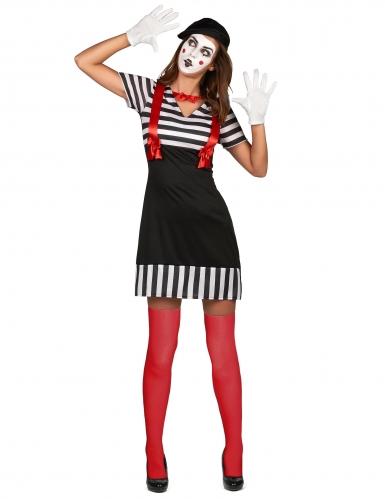 Pantomime-Damenkostüm Karneval weiss-schwarz-rot