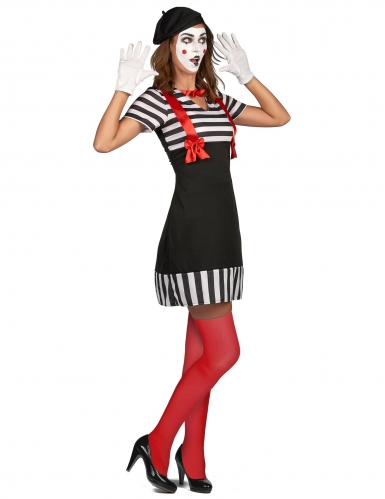Pantomime-Damenkostüm Karneval weiss-schwarz-rot -1