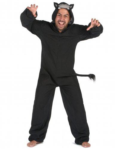 Schwarzer Panther Herrenkostüm Tier-Verkleidung schwarz