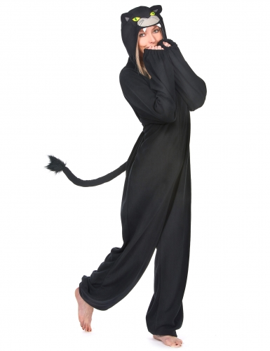 Schwarzer Panther Damenkostüm-Overall schwarz